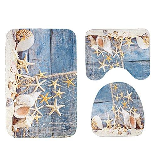 Yardwe 3 Stücke Bad Teppich Matten Set mit Muschel Tritonsohle Boden Muster Fußmatte rutschfeste Badematte WC Deckel Abdeckung WC Teppich Set