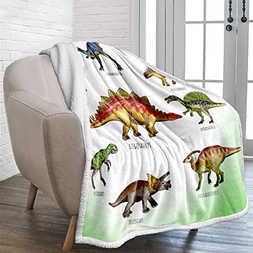 Manta de vellón de dinosaurio Manta de tiro impresa dinosaurio jurásico 3D reversible para niños niños adultos manta sólida de dibujos animados de felpa impresa para cama sofá 150x200 cm