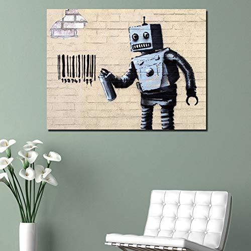 KWzEQ Artista Street Art Robot Pintura sobre Lienzo e impresión Sala de Estar decoración del hogar póster,Pintura sin Marco,40x50cm