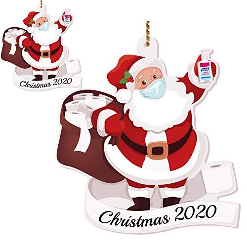 TopLAD Santa with Mask Christmas Ornaments,2020 Santa Claus Wearing a Face Mask Ornament,Xmas Tree Decorations,Quarantine Keepsake,W2 (2 Sets)