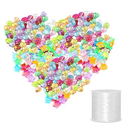 Zasjon kit de cuentas arcilla, 300 piezas cuentas de colore manualidades cuentas pulsera diy cuentas para pulseras y collares conjunto de cuentas para hacer joyas con cordón elástico de 50 m