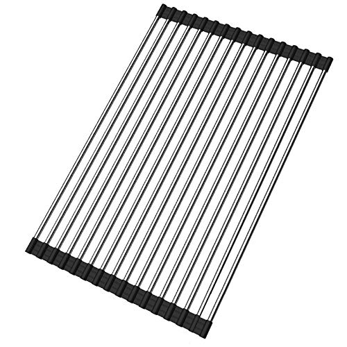 Ahyuan Roll up Dish Drying Rack Over The Sink Kitchen Roll up Sink Drying Rack Portable Dish Rack Dish Drainer Foldable SUS304 Stainless Steel Dish Drying Rack (17.8