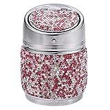 ALANG Cristal Rhinestones Cenicero de Coche Portavasos de Metal con Diamante Cenicero automático Portátil Regalos de Alta Clase para Mujeres niñas, Rosa