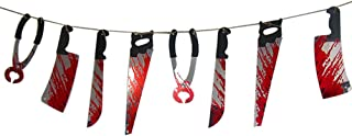 HOBULL Halloween Bloody Splatter Horror Scary Metallic Butcher Knife Chainsaw Weapon Killer Tools Haunted House Banner Decoration