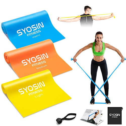 SYOSIN Fitnessbänder Widerstandsbänder, 3 Stärke einstellen, 1.5 m hautfreundliche, Gymnastikbands für Pilates, Fitnesstraining, Physiotherapie & Rehabilitation, Dehnungen & Heimtraining
