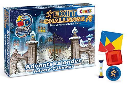 CRAZE 24720 Adventskalender EXIT CHALLENGE Weihnachtskalender für Mädchen Jungen Spielzeugkalender Escape Game, kreative Inhalte