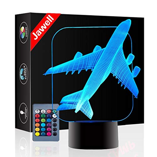 Christmas Gift Plane 3D Illusion Night Light Beside Table Lamp, Jawell 16 Colors Auto Changing Touch Switch Desk Lamps Birthday Present with Remote Control