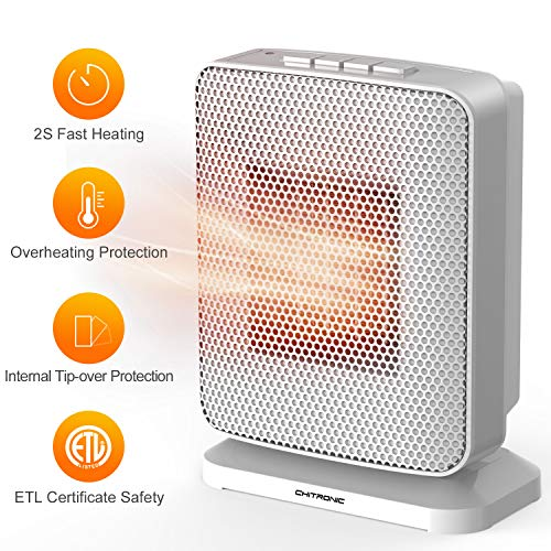 CHITRONIC Portable Ceramic Space Heater with Efficient 1500 Watt, Oscillating Function, Overheating and Tip-Over Protection, Push Button Design, Cold & Heat Settings for Home and Office (ETL Listed) Heater Oscillating Space