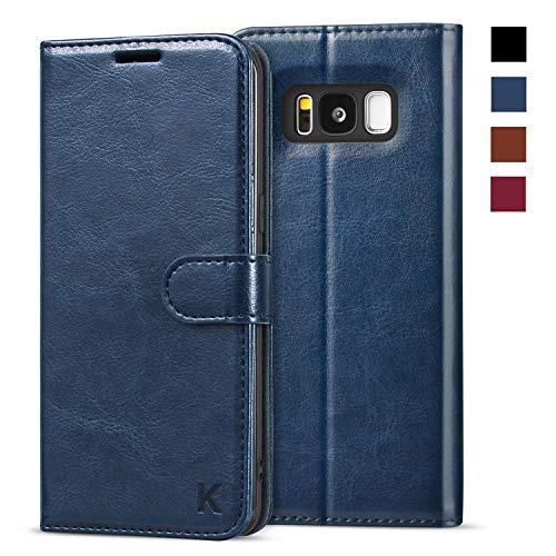 KILINO Samsung Galaxy S8 Hülle [PU Leder][RFID Blocker][Schützt vor Stößen][Kartenfach][Standfunktion] Handyhülle Klapphüllen Handytasche Schutzhülle Lederhülle Flip Cover Hülle (Blau)