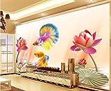 Papel tapiz fotográfico Pez loto de color 3D Lana Fondo De Pantalla XXL Papel pintado tejido no tejido Moderna Decoración De Pared Sala Cuarto 300 X 210 cm