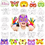 32Pcs Animal Masks for Kid , DIY Blank Graffiti Paper Masks for Party / Christmas /Birthday/Cosplay Game/Kids' Hand Painting Art Crafts , Funny Coloring Masks Bulk Crafts for Kids Party Favors