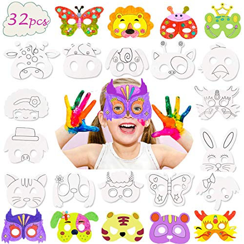 32 Pcs Animal Masks for Kids,DIY Blank Graffiti Masks Party Favors Masks for Parties/Halloween/Cosplay/Kids
