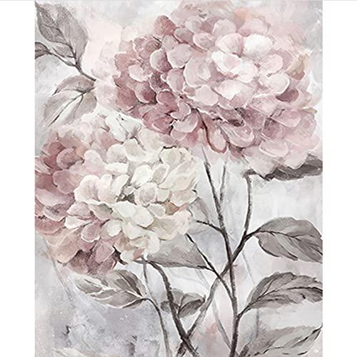 Kits de Pintar acrílica DIY para Adultos Niños Flor rosa DIY Pintura por Números Pint Decoraciones para el hogar-16 * 20 Pulgadas, con marco