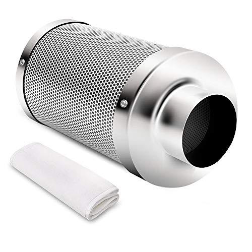 iPower 10,2 cm Air Carbon Australia Virgin C für Inline-Rohrventilator, Wachstumszelt, Geruchs-Schrubber Kontrolle, Hydrokultur, Vorfilter inklusive, wendbarer Flansch