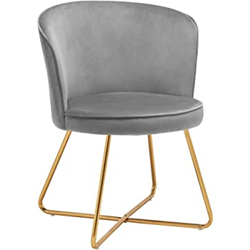 Duhome Accent Chair Vanity Chair with Gold Legs Velvet Upholstered Chair for Living Room Grey 1pcs