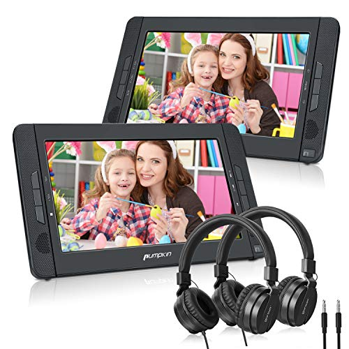 Pumpkin Double Lecteur DVD Portable Voiture Ecrans d'appuie-tête Equipe Ecouteur 10,1 Pouce pour Enfant (Un Lecteur DVD et Un Moniteur) supporte USB SD MMC Autonomie de 5 Heures