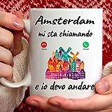 Tazza Amsterdam Mi Sta chiamando e io Devo Andare. Gadget Regalo Mug per Chi AMA Amsterdam.