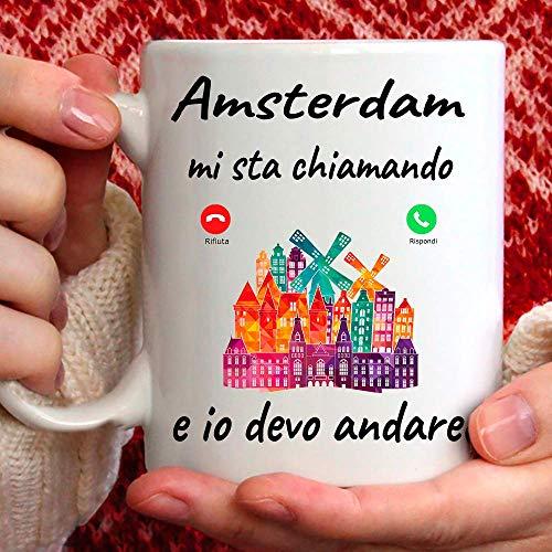 Taza Amsterdam Mi está llamando y yo debo Andare. Regalo Mug para Chi Amsterdam.