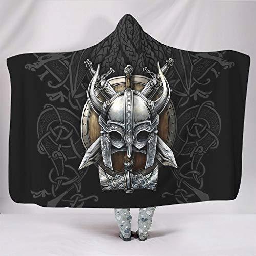 DOGCATPIG Manta con capucha Viking auténtica manta con capucha para mujeres y hombres, color blanco 60 x 80 pulgadas
