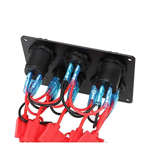 LIANGJIN 12V Impermeable Voltímetro Digital Doble USB Outlet Outlet Combinación Coche Marine Barco LED Rocker Switch Panel (Color : Red)