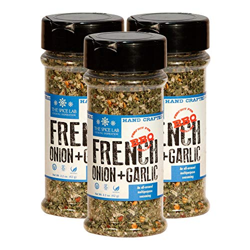 The Spice Lab French Onion Garlic Blend - Bread Dipping Garlic Spices and Seasonings Mix - Spice Shaker Jar - 3 Pack - Makes a Great Sour Cream or Gluten Free All Natural French Onion Dip Mix No. 7603