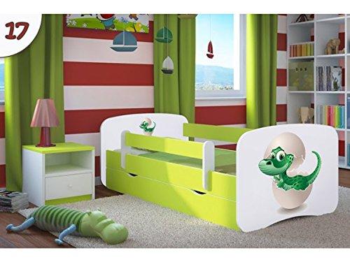 Kocot Kids Kinderbett Jugendbett 70x140 80x160 80x180 Grün mit Rausfallschutz Matratze Schublade und Lattenrost Kinderbetten für Mädchen und Junge - Kleiner Dino 180 cm