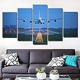 Leinwand Bilder Wohnkultur Wohnzimmer 5 Stück Sonnenuntergang Jet Flugzeug Gemälde Drucke Wolke Flugzeug Poster Modulare Wandkunst 20x3520x4520x55cm kein Rahmen