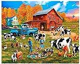 Zjxxm 1000 Piezas Rompecabezas de Madera de Hijos Adultos Niños Granja lechera Jigsaw Puzzle para Juegos Casuales de Bricolaje Divertidos Juguetes de Regalo -75x50cm
