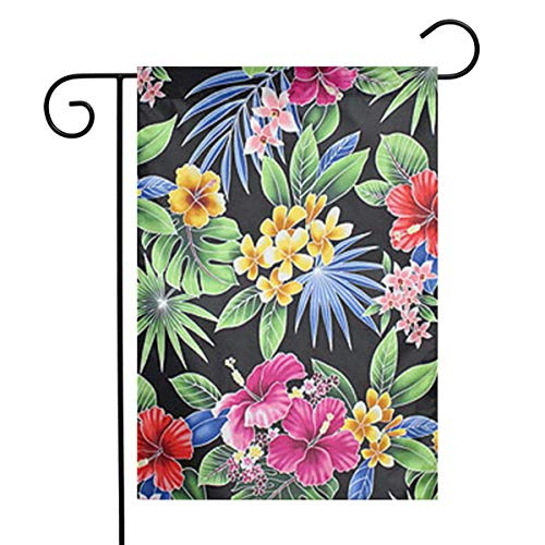 NOT Hawaiian Hibiscus Palm Plumeria Orchid Pattern, Durable Yard Flag House Flag Classic Garden Flag Double-Sided Printing Flags for Outdoors12x18 Ft