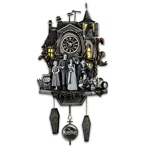The Bradford Exchange The Munsters Cuckoo Clock with Flickering Lights and Music