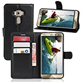 Excelsior Premium Leather Wallet Flip Cover Case for Asus ZenFone 3 Deluxe ZS570KL (5.7 Inch) - Black