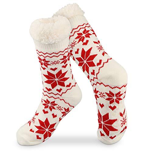WOSTOO Calcetines Invierno Mujer, Calcetines Antideslizantes Mullidos Calcetines Termicos S¨²per Suaves con Patrones Copos Nieve, Regalos de Navidad, Blanco