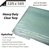 Heavy Duty Clear Greenhouse Tarp - Premium quality 10 mil with 3x3 Mesh weave for added strength - UV coated protection for outdoor use great for Nurseries