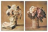 Cuadro decoración de Madera de Flores/Placas de Madera. Set de 2 Cuadros de 19 cm x 25 cm x 4 mm unid. Adhesivo FÁCIL COLGADO. Adorno Decorativo. Decoración Pared hogar