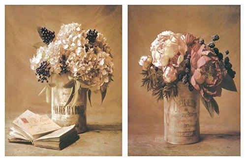 Cuadro de madera de flores de decoración. Set de 2 unidades de 19x25 cm cada unidad