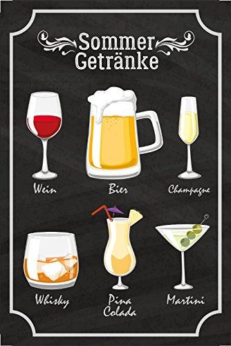 Schatzmix Sommer Getränke blechschild, tafel, Wein, Bier, Champagne, Whisky, pina Colada, Martini, Alkohol