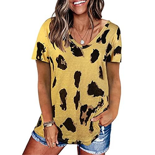 Blusa De Camiseta De Manga Corta Suelta con Estampado De Leopardo De Verano para Mujer