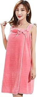 Fashion P.R 着れるバスタオル レディース バスローブ バスワンピース リボン付き 簡単に巻く 肌触りが優しい 抗菌仕様 吸水速乾 ルームウエア パジャマ 部屋着