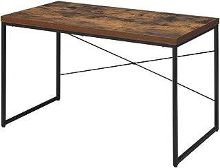 Benjara Benzara Wooden Rectangular Desk with Metal Legs, Brown and Black