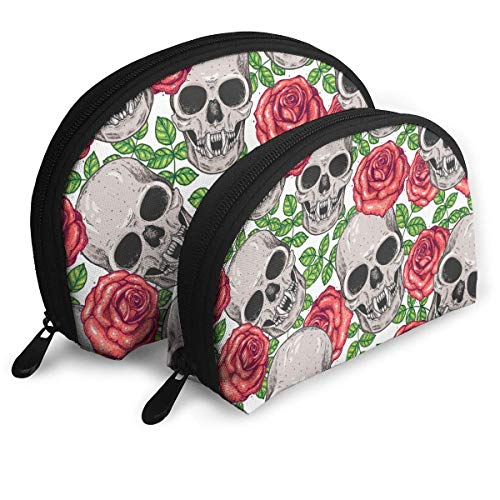 Skull Roses Hand Drawn The Arts Customized Portable Bags Clutch Pouch Storage Bag Cosmetic Bag Purse Travel Storage Bag Shell Shape One Big And One Small For Women