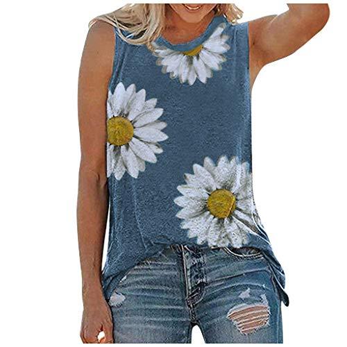 KIMODO Damen Sommer T-Shirt Casual O-Ausschnitt Gänseblümchen Print Ärmellose Kurzarm Oberteil Tank Tops Bluse Shirt Grafik Bluse (Blau, L)