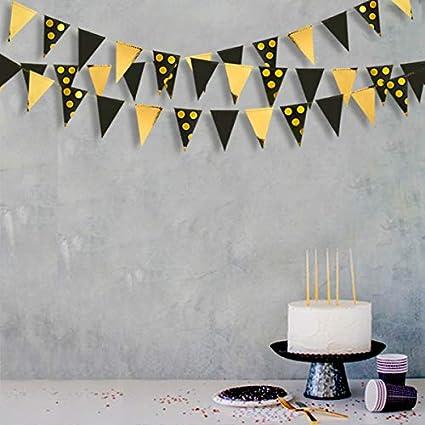 39Ft Lamina doro Bianco Polka DOT Pennant Banner Carta Triangolo Bandiere Bunting Ghirlanda Streamer per Matrimonio Bridal Shower Compleanno Addio al Nubilato Fidanzamento Anniversario Decorazioni