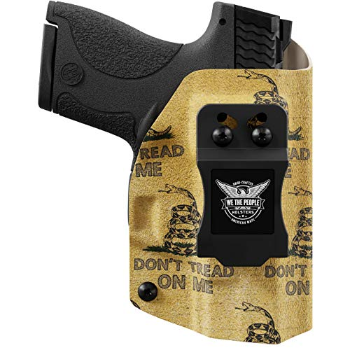 We The People - Gadsden Flag Left Hand Inside Waistband Concealed Carry Kydex IWB Holster Compatible with Glock 19 23 32 45 19X Gen 3-4-5 Gun