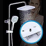 L-YINGZON Ducha Systems, Punch-libre de latón grifo de la ducha superior cuadrada de 20 cm aerosol de la ducha Sistema de plata doble de los hogares de elevación ducha caliente y fría Set 3 modos Herm