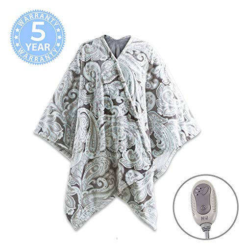 MP2 Electric Heated Poncho Shawl Wrap Sherpa Throw Blanket with Buttons Auto Shut Off 50'x 64', Paisley
