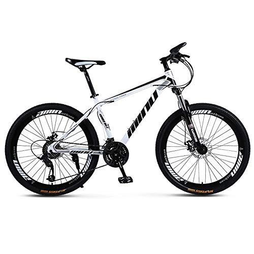 WSJ Bicicleta de montaña para adultos, 26 pulgadas, 30 velocidades, una rueda, velocidad variable, amortiguador para hombre y mujer, bicicleta de color rojo, blanco