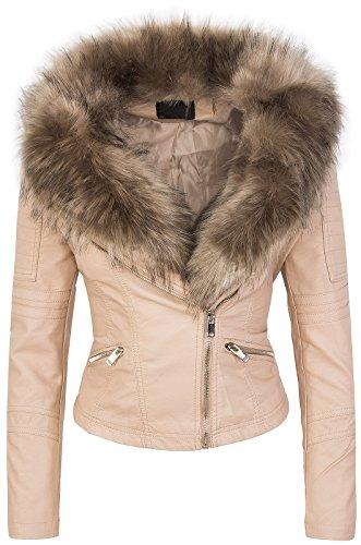 Rock Creek Selection Designer Damen Winter Jacke elegant Kunstfellkragen Übergangsjacke D-362 [WS-906 Beige XL]