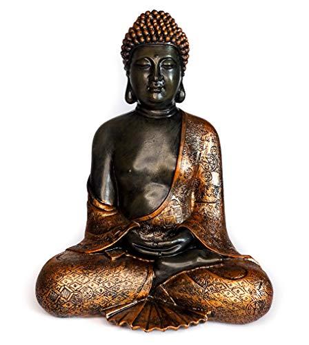 Figura de Buda de Interior para Meditación o Decoración. Estatua de Resina Grande. 28 cm de Alto. Pintada en Negro y Bronce