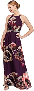 Floral Print Chiffon Halter Mother of Bride/Groom Dress with Beaded Belt Style 9171244