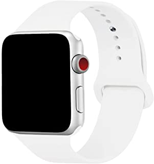 Yaber Soft Silicone Replacement Sport Band Compatible with Apple Watch 40MM 44MM 38MM 42MM All Models (White, 38MM/40MM S/M)